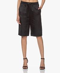 Les Coyotes de Paris Fenja Loose-fit Satin Bermuda Shorts - Black
