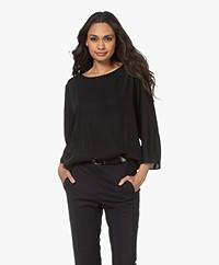 Woman by Earn Amelie Oversized Crepe Blouse - Black