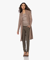 LaSalle Long Belted Viscose Blend Cardigan - Sand
