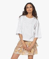 Drykorn Corini T-shirt with Three-quarter Sleeves - White