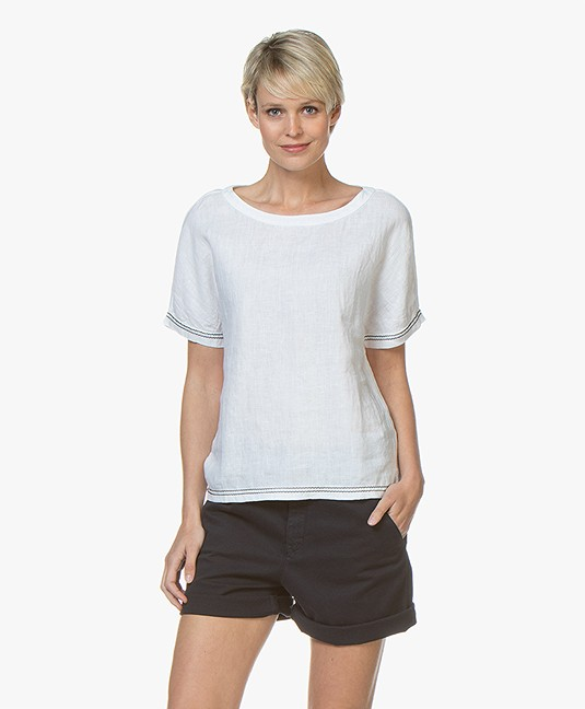 Belluna Yale Linen Blouse Top with Decorative Stitching - White