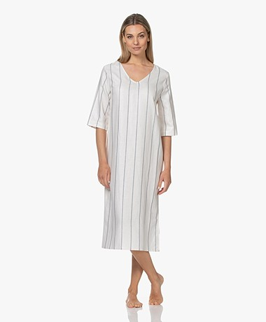 HANRO Urban Casuals Striped Linen Blend Dress - Moonlight Stripe