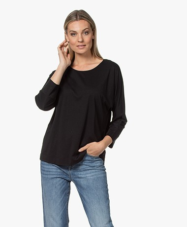 Repeat Lyocell and Cotton T-shirt with Cropped Sleeves - Black