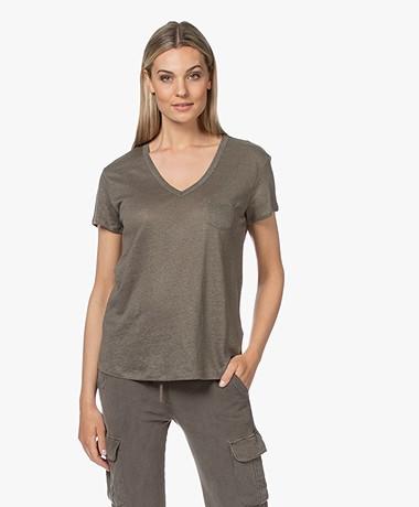 Repeat Linnen V-hals T-shirt - Khaki