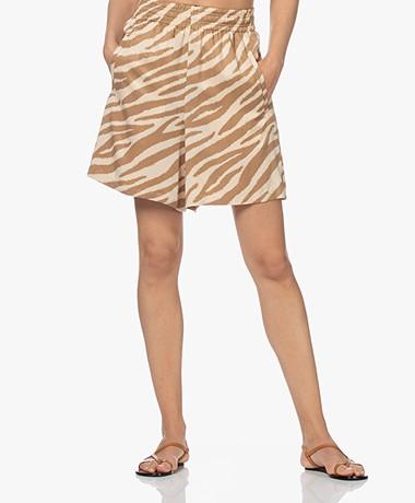 Drykorn Sweetie Cupro Blend Tiger Print Shorts - Tapioca