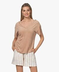 Majestic Filatures Frotté V-hals T-shirt - Ficelle