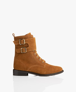 ba&sh Scomo High Suede Ankle Boots - Cognac