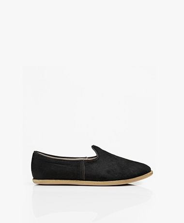 SURÉE Hairy Leather Loafers - Black