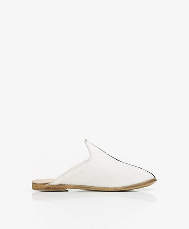 SURÉE Hairy Leren Two-tone Mules - Pierrot