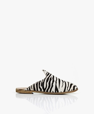 SURÉE Hairy Leather Print Mules - Zebra