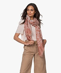 Closed Cotton Voile Print Scarf - Mahogany