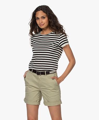 Drykorn Namela Fine Knitted Short Sleeve Sweater - Black/Off-white