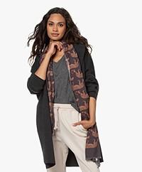 LaSalle Wool-Silk Blend Printed Scarf - Anthracite
