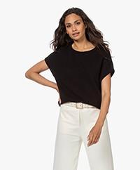 Sibin/Linnebjerg Aspen Merino-Alpaca Short Sleeve Sweater - Black