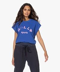 Dolly Sports Martina Katoenen Print T-shirt - Kobalt