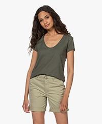 Drykorn Avivi Slub Jersey T-shirt - Groen