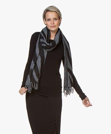 Repeat Jacquard Sjaal met Zebra Design - Grijs/Zwart
