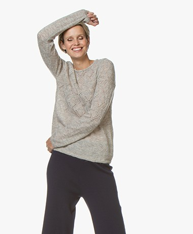 no man's land Ajour Sweater with Mohair - White Oak
