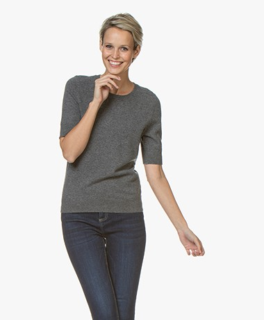 Repeat Short Sleeve Cashmere Pullover - Medium Grey