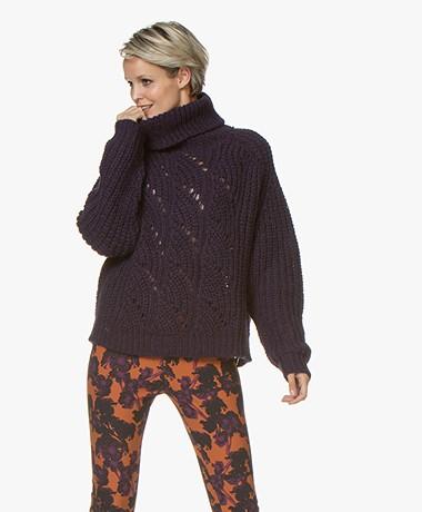 ba&sh Azure Turtleneck Sweater in Alpaca and Wool - Purple