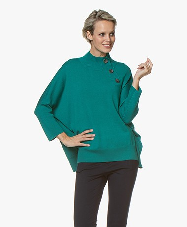 Repeat Merino Turtleneck Sweater with Button Placket - Green