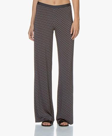 SIYU Salina Tech Jersey Print Pants - Petrol/Dark Blue/Rust