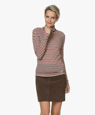 Pomandère Striped Wool Blend Turtleneck T-Shirt - Red/Burgundy/Off-white
