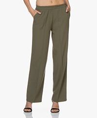 LaSalle Loose-fit Pants with Straight Legs - Green