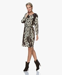 LaSalle Jersey Snake Print Dress - Black