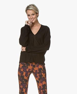 Drykorn Simony Fine Knit V-neck Sweater - Black