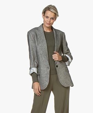 Zadig & Voltaire Vow Silver Blazer with Rhinestones - Silver Grey