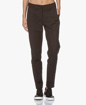 LaSalle Pantalon met Omgeslagen Zoom - Zwart
