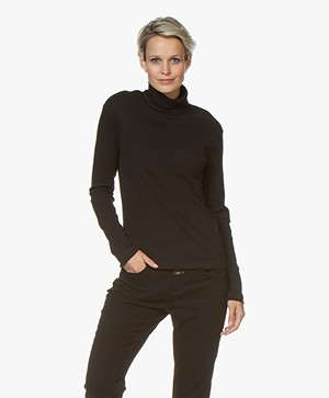 Petit Bateau Cotton Turtleneck Long Sleeve - Black