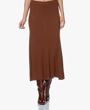 Repeat Knitted Merino Midi Skirt - Rust