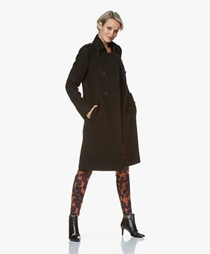 Drykorn Buckey Knee-length Wool Blend Coat - Black