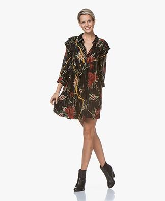 ba&sh Paprika Printed Mini Dress with Lurex - Black