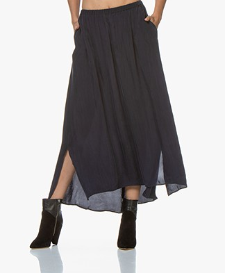 American Vintage Nonogarden Cupro Blend Maxi Skirt - Navy