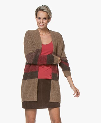 no man's land Striped Cardigan with Mohair - Carmine