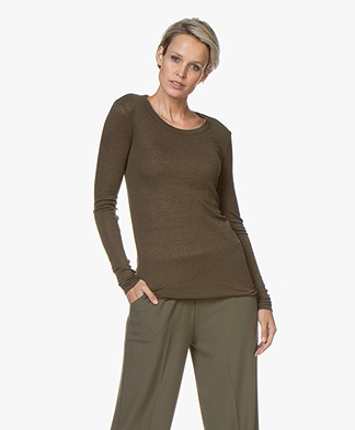 Closed Rib Jersey Long Sleeve in Lyocell and Wool - Sea Tangle
