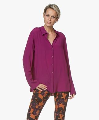 Drykorn Charlee Silk Blend Crepe Blouse - Purple