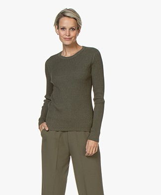 Repeat Rib Knitted Crew Neck Sweater - Forest