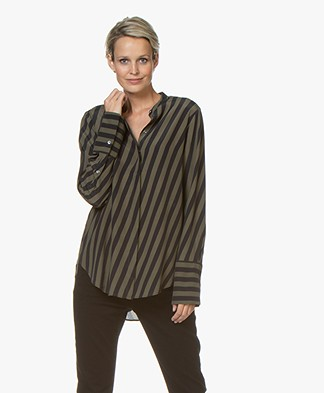 Closed Sparrow Striped Blouse in Viscose and Silk - Black/Khaki