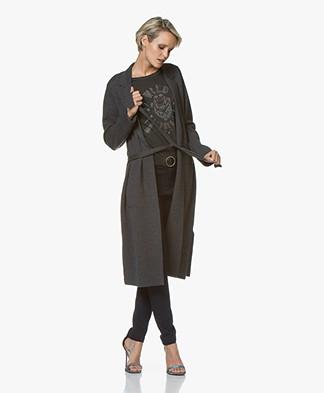 Repeat Long Merino Wool Cardigan - Dark Grey