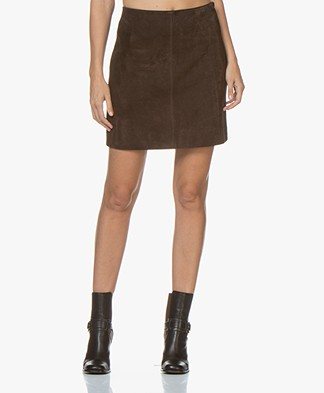 no man's land Suede Leather Mini Skirt - Fondente