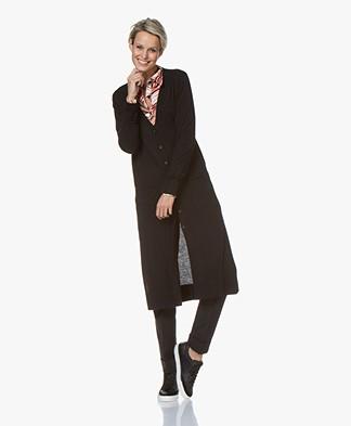 Repeat Fine Knit Long Button-through Cardigan - Black