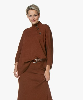 Repeat Merino Turtleneck Sweater with Button Placket - Rust
