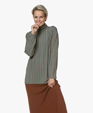 SIYU Lineas Finisimo Jersey Print Turtleneck L/S T-shirt - Sea Green