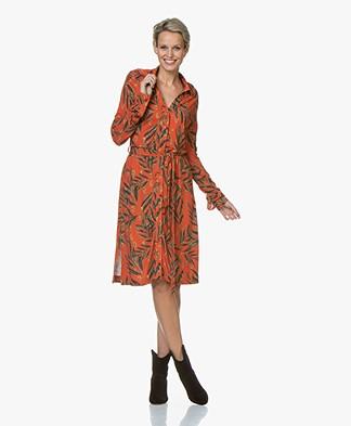 LaSalle Jersey Bladprint Blousejurk - Oranje