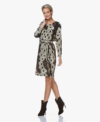 LaSalle Jersey Snake Print Dress - Black
