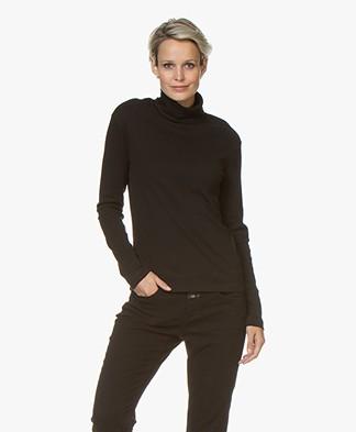 Petit Bateau Cotton Turtleneck Long Sleeve - Black